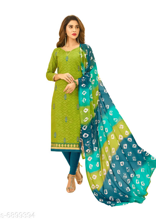 Semi Stitched Suits Salwar Suit with Matching mask . The Ethnic Chic Green Colored Cotton Jacquard Salwar Suit. top length 39 to 41(inches)  *Top Fabric* Jacquard  *Lining Fabric* Cotton  *Bottom Fabric* Cotton  *Dupatta Fabric* Chiffon  *Pattern* Solid  *Multipack* Single  *Sizes*   *Semi Stitched (Top Bust Size* Up To 40 in, Top Length Size  *Sizes Available* Semi Stitched *    Catalog Name: Floral Solid Jacquard with Jacquard work and Phulkari DupattaSemi-Stitched Suits & Dress Materials (Single Pack) CatalogID_1101443 C74-SC1522 Code: 526-6899394-9961
