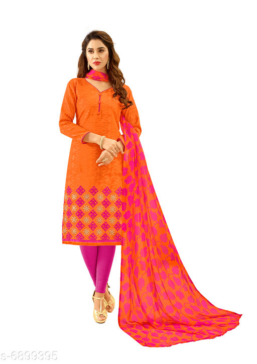 Semi Stitched Suits Salwar Suit with Matching mask . The Ethnic Chic Orange Colored Cotton Jacquard Salwar Suit. top length 39 to 41(inches)  *Top Fabric* Jacquard  *Lining Fabric* Cotton  *Bottom Fabric* Cotton  *Dupatta Fabric* Chiffon  *Pattern* Solid  *Multipack* Single  *Sizes*   *Semi Stitched (Top Bust Size* Up To 40 in, Top Length Size  *Sizes Available* Semi Stitched *    Catalog Name: Floral Solid Jacquard with Jacquard work and Phulkari DupattaSemi-Stitched Suits & Dress Materials (Single Pack) CatalogID_1101443 C74-SC1522 Code: 526-6899395-9961
