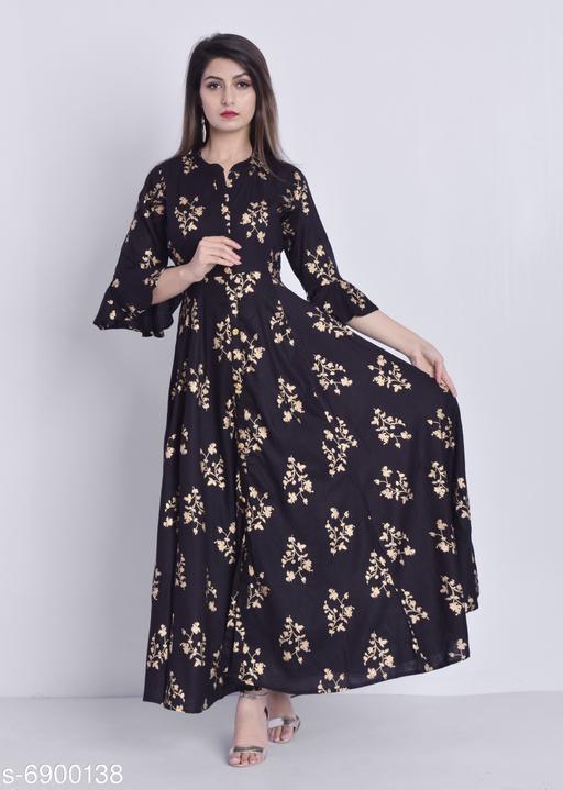 Women's Printed Black Rayon Dress