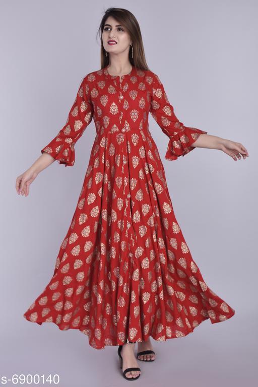 Women's Printed Maroon Rayon Dress