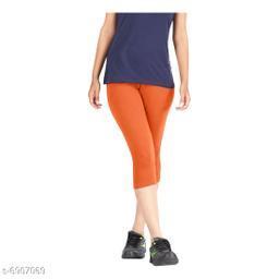 Women / Girls Bio-Washed 220 GSM Capri, Pack of 1 (Orange) - Free Size