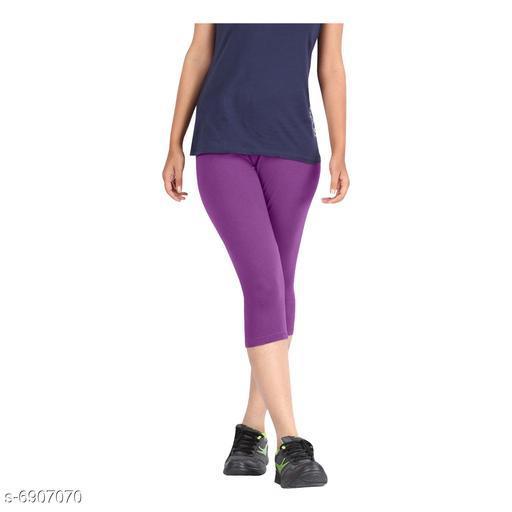 Women / Girls Bio-Washed 220 GSM Capri, Pack of 1 (Purple) - Free Size