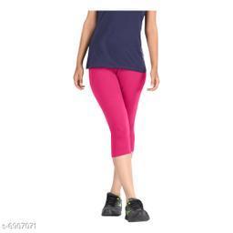 Women / Girls Bio-Washed 220 GSM Capri, Pack of 1 (Pink) - Free Size