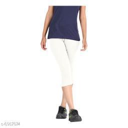 Women / Girls Bio-Washed 220 GSM Capri, Pack of 1 (White) - Free Size