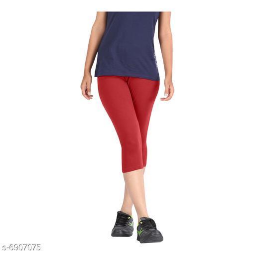 Women / Girls Bio-Washed 220 GSM Capri, Pack of 1 (Red) - Free Size