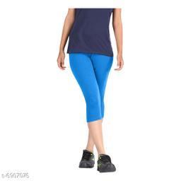 Women / Girls Bio-Washed 220 GSM Capri, Pack of 1 (Turquoise) - Free Size