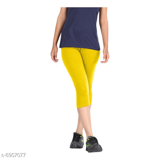 Women / Girls Bio-Washed 220 GSM Capri, Pack of 1 (Yellow) - Free Size