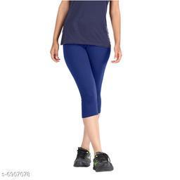 Women / Girls Bio-Washed 220 GSM Capri, Pack of 1 (Blue) - Free Size