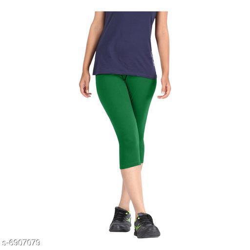 Women / Girls Bio-Washed 220 GSM Capri, Pack of 1 (Green) - Free Size