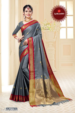Latest Trendy Womens Cotton Silk saree with Blouse Piece