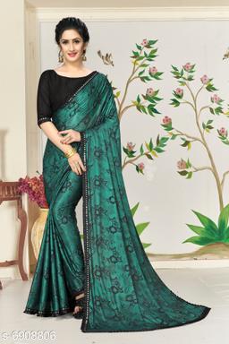 Amrutam Fab Women's Lycra Foil Print Green Party Wear Saree With Blouse Piece (SR-10135-Green)