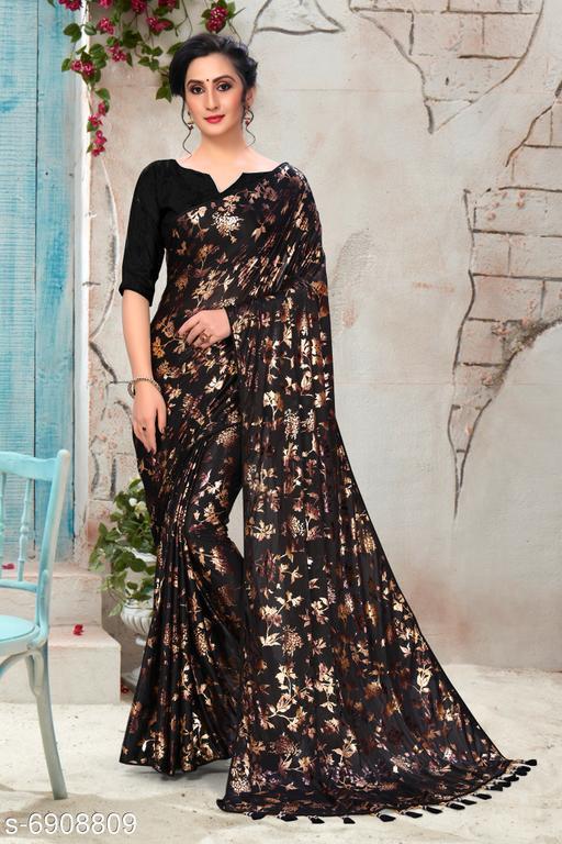 Amrutam Fab Women's Silk Foil Print Black Party Wear Saree With Blouse Piece (SR-10128)