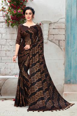 Amrutam Fab Women's Silk Foil Print Brown Party Wear Saree With Blouse Piece (SR-10127)