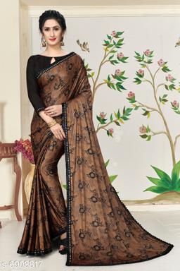 Amrutam Fab Women's Lycra Foil Print Brown Party Wear Saree With Blouse Piece (SR-10135-Brown)