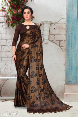 Amrutam Fab Women's Silk Foil Print Brown Party Wear Saree With Blouse Piece (SR-10126)
