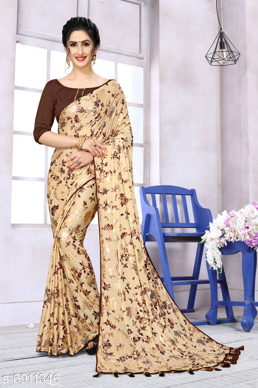 Fab Dadu Women's Lycra Foil Print Beige Party Wear Saree With Blouse Piece (SR-10128-Beige)