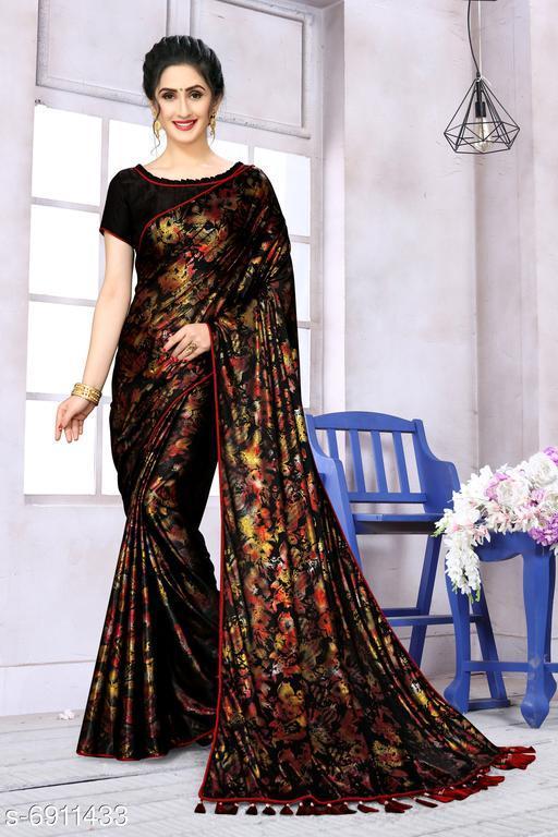 Fab Dadu Women's Lycra Foil Print Black Party Wear Saree With Blouse Piece (SR-10140-Black)