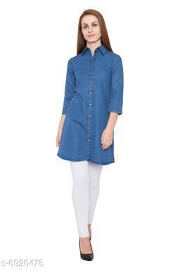 Women's Denim Blue Color Long Tunics