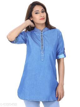 Women's Short Blue Denim Solid Pathani Kurti