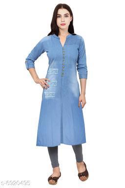 Blue Denim Front Slit Rough Band Collar Pint-ex Women's Straight Kurta