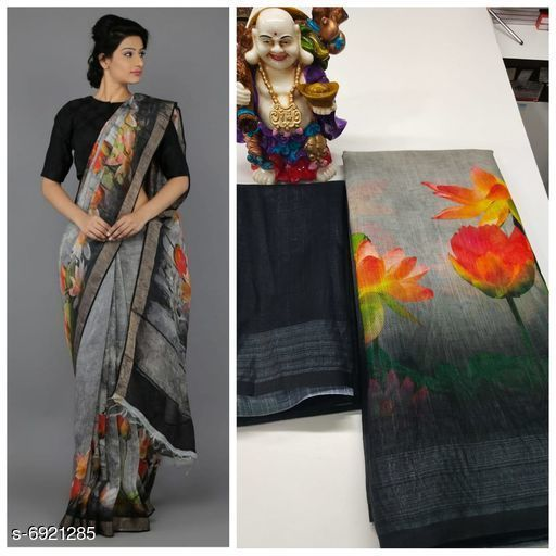 Sarees Beautiful trendy saree  *Saree Fabric* Linen  *Blouse* Separate Blouse Piece  *Blouse Fabric* Linen  *Pattern* SolidaSaree Fabric  *Blouse* Separate Blouse Piece  *Blouse Fabric* Original Linen  *Pattern* Solid  *Blouse Pattern* Same as Saree  *Multipack* Single  *Sizes*   *Free Size (Saree Length Size* 5.5 m, Blouse Length Size  *Blouse Pattern* Same as Saree  *Multipack* Single  *Sizes*   *Free Size (Saree Length Size* 5.5 m, Blouse Length Size  *Sizes Available* Free Size *    Catalog Name: Alisha Voguish Sarees CatalogID_1105079 Code: 818-6921285-
