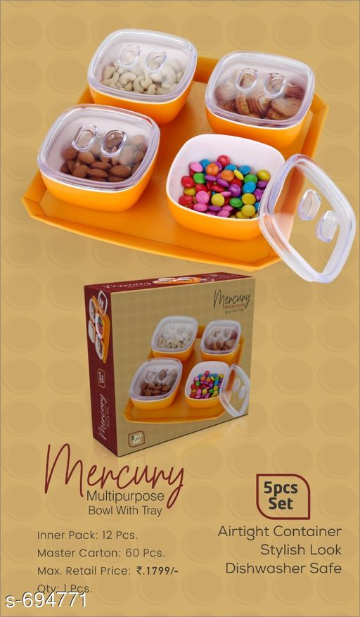 Jars & Container Useful Bowl With Tray  *Material* Plastic  *Description* It Has 1 Piece Of Bowl With Tray  *Sizes Available* Free Size *   Catalog Rating: ★3.9 (4713)  Catalog Name: Useful Assorted Home & Kitchen Utilities Vol 5 CatalogID_78534 C130-SC1639 Code: 865-694771-