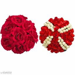 GaDinStylo  Full Juda Bun Hair Flower Gajra Combo for Wedding and Parties (Red&White) Color Pack of 2