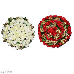 GaDinStylo Juda Bun Hair Flower Gajra Combo for Wedding and Parties (Red&White) Color Pack of 2