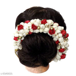 GaDinStylo Hair Bun Mogra Gajra Flower Artificial Juda Accessories for Women in Red White Color Pack of 1