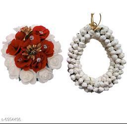GuruEmbellish Beautiful Hair Accessories Flower Gajra Bun Maker Pack of 2