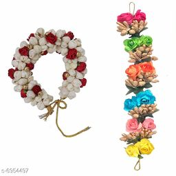 GuruEmbellish Mogra Hair Flower Artificial flower gajra and Multi Color gajra Combo for Wedding and Party