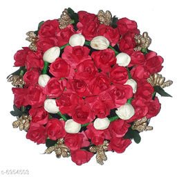 GuruEmbellish Full Juda Bun Hair Flower Gajra for Wedding and Parties Use for Women in Red And Gold Color Pack of 1