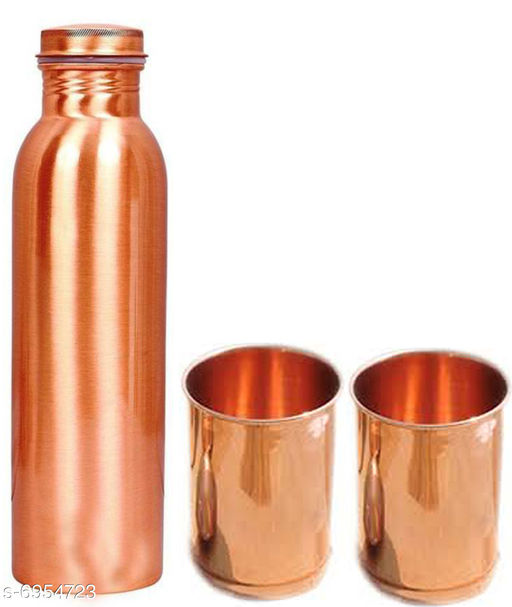 Rajsons Pure 1000 Ml Copper Bottle With 2 Pure Copper 250 ML Glass Gift
