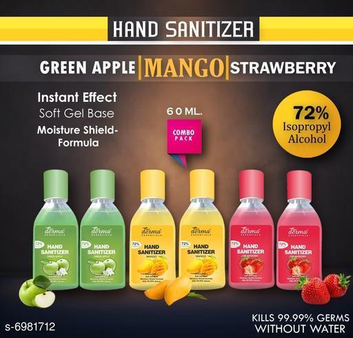 True Derma Essentials Flavoured Sanitizer (Strawberry, Mango, Green Apple) Pack of 3 - 60ML (2 pc each)