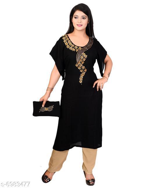 Women's Embroidered Black Georgette Kurti