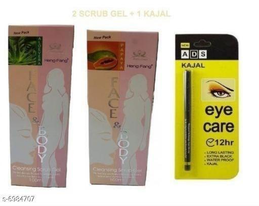heng feng aloevera + heng feng papaya body face scrurb(peck off 2) + Ads p black kajal