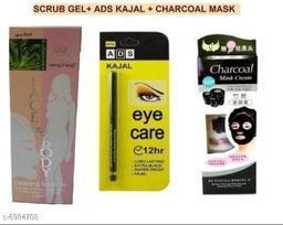 heng feng aloevera body face scurb +& Ads pila kajal + charcoal mask gel