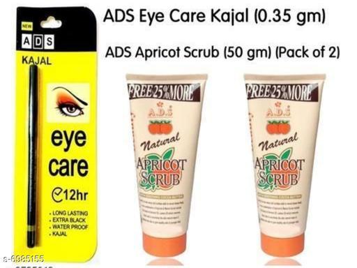 Ads eye care black kajal 1+ads apricort scurb peck off 2