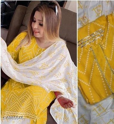 Dupatta Sets Women's Printed Yellow Rayon Kurta Set with Palazzos Kurta Fabric: Rayon Bottomwear Fabric: Cotton Duppata Fabric : Cotton Printed Mulmul  Duppata Length : 2 Meters Fabric: Rayon Sleeve Length: Three-Quarter Sleeves Set Type: Kurta With Dupatta And Bottomwear Bottom Type: Palazzos Pattern: Printed Multipack: Single Sizes: M (Bust Size: 38 in Kurta Length Size: 44 in Bottom Waist Size: 28 in Bottom Length Size: 40 in)  L (Bust Size: 40 in Kurta Length Size: 44 in Bottom Waist Size: 30 in Bottom Length Size: 40 in)  XL (Bust Size: 42 in Kurta Length Size: 44 in Bottom Waist Size: 32 in Bottom Length Size: 40 in)  XXL(Bust Size: 44 in Kurta Length Size: 44 in Bottom Waist Size: 34 in Bottom Length Size: 40 in) Country of Origin: India Sizes Available: XS, S, M, L, XL, XXL, XXXL, 4XL, 5XL *Proof of Safe Delivery! Click to know on Safety Standards of Delivery Partners- https://ltl.sh/y_nZrAV3  Catalog Rating: ★3.9 (469)  Catalog Name: Banita Ensemble Women Kurta Sets CatalogID_1115122 C74-SC1853 Code: 467-6985546-