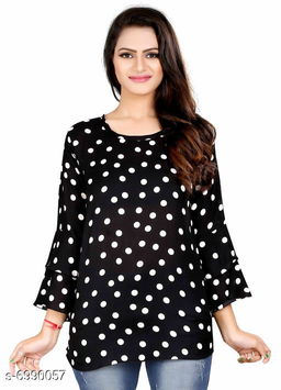 Women's Printed Black Polyester Top