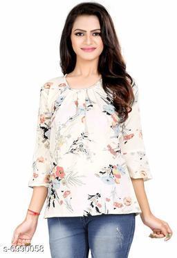 Women's Printed Cream Polyester Top