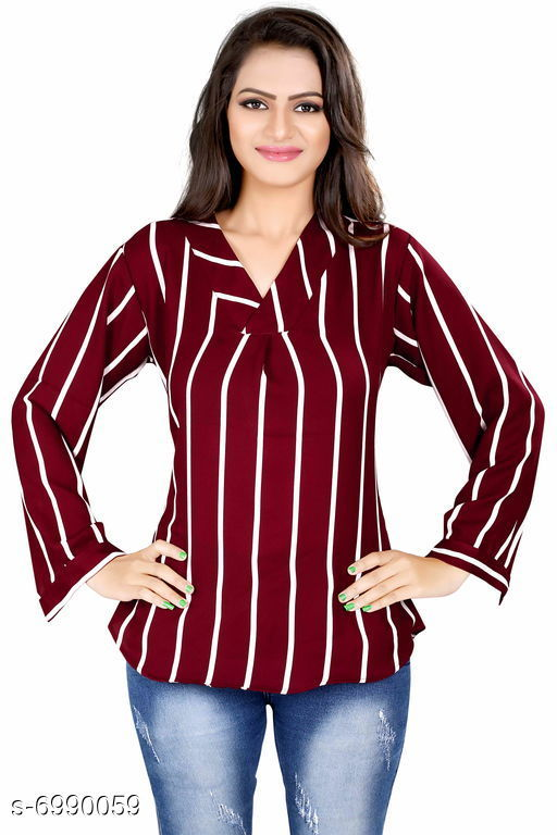 Women's Printed Maroon Polyester Top