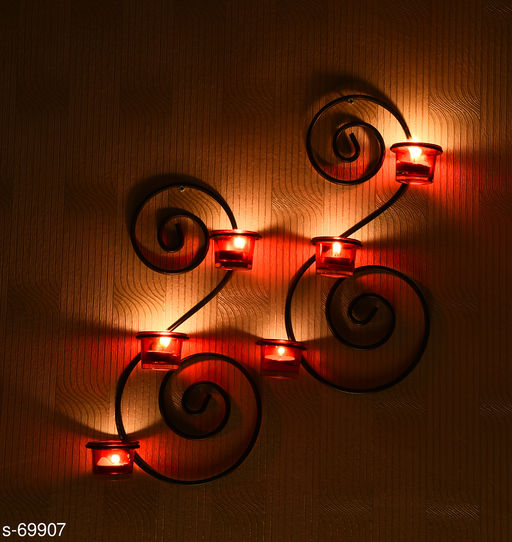 Set of 2 Bronze Decorative Wall Sconce with Red Glass and & Tealights