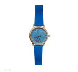 JM New Sure Short Style' Dark Blue Leather Belt Watch