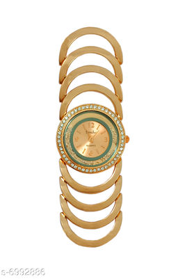 JM New Metal Gold Fancy Braclet Watche