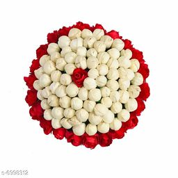 GuruEmbellish Artificial White & Red flower Bun Juda Maker Flower Gajra Hair Accessories For Women and Girls Pack-01