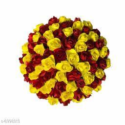 GuruEmbellish Artificial Flower Bun Juda Maker Flower Gajra Hair Accessories For Women and Girls Pack-01(Color-Red & Yellow)