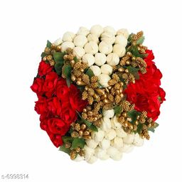 GuruEmbellish Artificial Flower Bun Juda Maker Flower Gajra Hair Accessories For Women and Girls Pack-01(Color-Red & White)