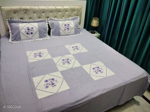 Bedding Set Double Bedsheet With 2 Pillow Covers  *No. of Bedsheets* 1  *No. of Pillow Covers* 2  *Thread Count* 160  *Sizes*   *Free Size (Bedsheet Length Size* 90 in, Bedsheet Width Size  *Sizes Available* Free Size *    Catalog Name: Gorgeous Stylish Bedding Set CatalogID_1117621 C53-SC1103 Code: 408-7002264-