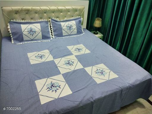 Bedding Set Double Bedsheet With 2 Pillow Covers  *No. of Bedsheets* 1  *No. of Pillow Covers* 2  *Thread Count* 160  *Sizes*   *Free Size (Bedsheet Length Size* 90 in, Bedsheet Width Size  *Sizes Available* Free Size *    Catalog Name: Gorgeous Stylish Bedding Set CatalogID_1117621 C53-SC1103 Code: 408-7002265-